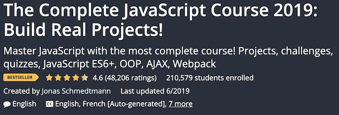 the complete javascript course from Udemy