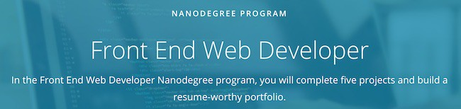 front end web developer from Udacity