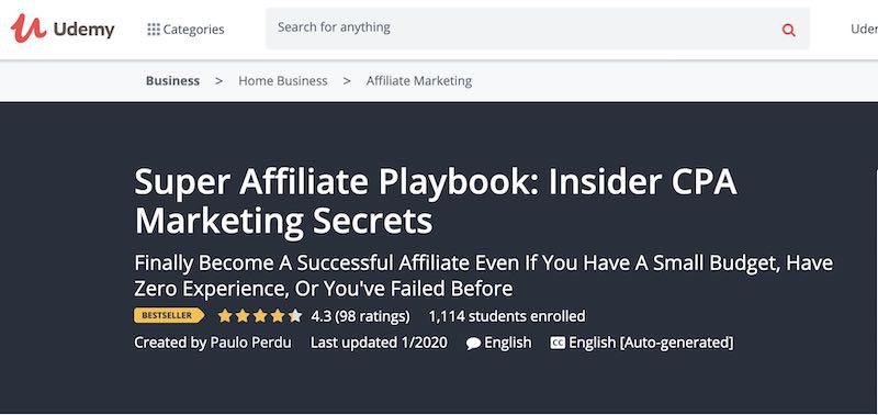 super affilate marketing course on Udemy online education platform